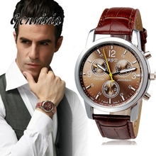 Direct Selling Alloy Casual New Brand Men Watch Relogio Masculino High Quality Pu Quartz Analog Wrist Watches 2017 #YSQ(China)