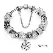New Year Gifts Silver Charm Bracelet European Crystal Charm Beads Fit Pan Bracelets For Women Jewelry Pulseira Masculina