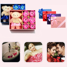 1Pcs Gift Box Valentine 's Day Gift Creative Soap Roses New Hot Small Bear DIY