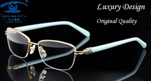 Fashion Brand Designer Eyeglasses Frame Women Luxury Diamond Womens Golden Half Rim Glasses Frames Prescription Eyewear Rx(China)