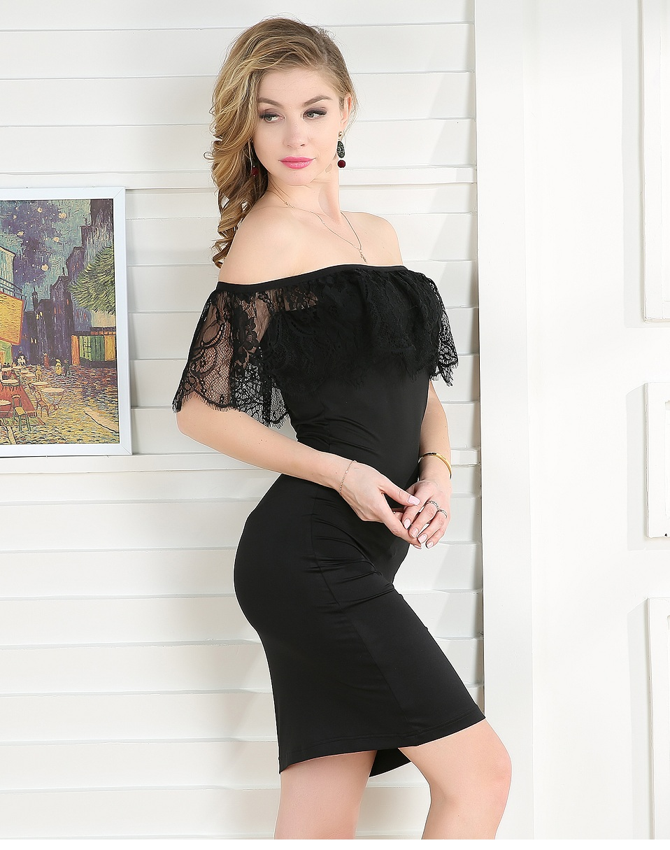 Summer Eyelashes Lace Dress Women Off Shoulder Midi Black Dress Vintage Night Club Clothes Tight Sexy Bodycon Ladies Party Dress 5