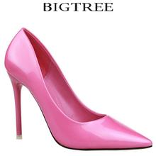 BIGTREE Brand Classic Woman High Heels 10.5cm Women Glossy Pumps 12Colors Light Blue Thin Heel Wedding Shoes Valentine Shoes