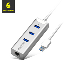 Hagibis Network Card USB 3.0 Ethernet Adapter and 3 Ports USB 3.0 HUB 1000Mbps Internet Usb to RJ45 Gigabit Network Cards(China)