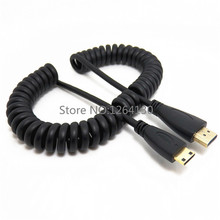 Retractable spring wire Gold Plated plug flat HD monitor 1.4V 3D Mini HDMI to HDMI cable For Camera ONDA V116w(China)
