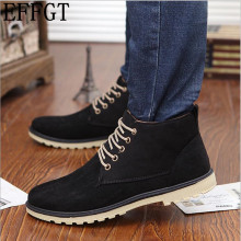 EFFGT NEW suede boots 2017 Autumn Winter martin boots men fashion desert work boots popular bottom thick lace-up shoes C874