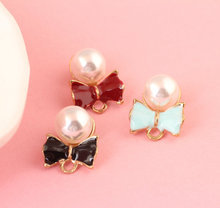 13*20mm 10x/lot Drops of oil Charms Bowknot Pearl Zinc Alloy Charm For DIY Jewelry Making Bracelet&Necklace&Bangle Accessories
