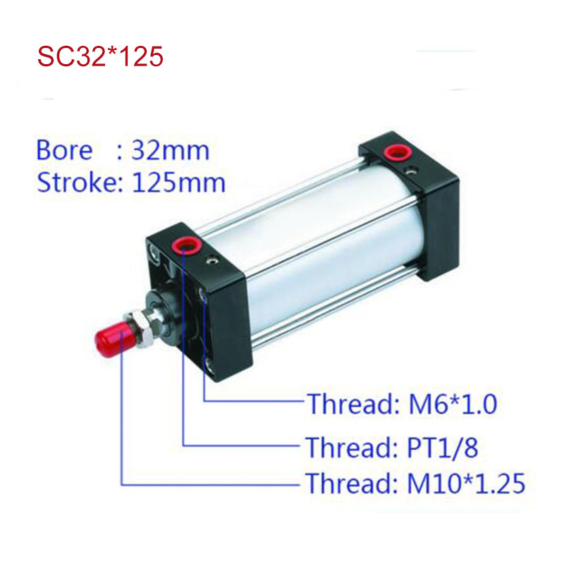 SC32*125 Free shipping Standard air cylinders valve 32mm bore 125mm stroke SC32-125 single rod double acting pneumatic cylinder<br><br>Aliexpress