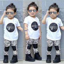 Kids Boys Clothes 2017 Summer Stylish T-shirt Tops + Geometric Pant Legging Outfit Children Clothing Set 1-6Y