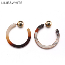 LILIE&WHITE 2017 C-shaped Design Acrylic Hoop Earrings For Girls CCB Beads Earrings For Women Gift Custom Jewelry Wholesale HF(China)