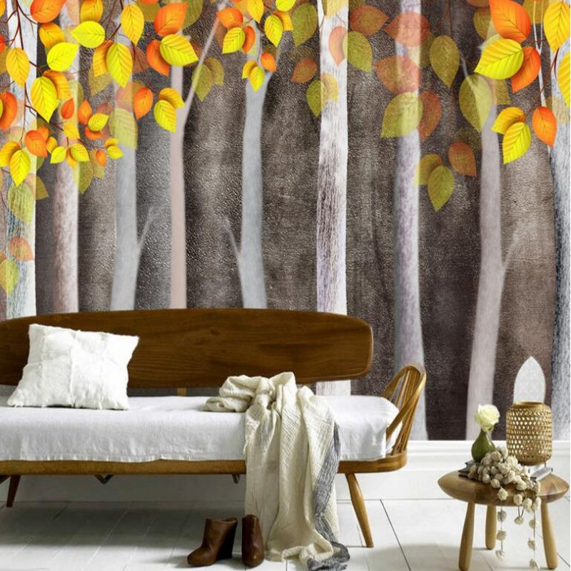 Large custom wallpaper 3D Aesthetic Fall Woods Golden Leaves Background Wall Home Decoration<br><br>Aliexpress
