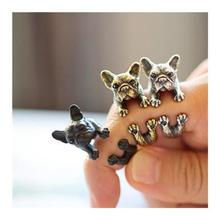 Retro Animal Handmade French Bulldog Ring Fashion Antique Gold Silver Vintage Adjustable Rings For Women Men C5