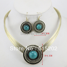 vintage jewelry set necklace + earring african turquoise jewelry set LM_S034