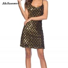 Buy Sexy V Neck summer gold Sequined Backless Sexy Dress Women Shoulder Mini Dress Christmas Party Club Strap Dresses Vestidos for $21.32 in AliExpress store