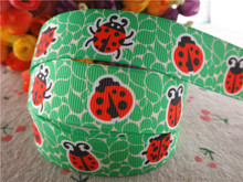 "17030258,New arrival 7/8"" (22mm) 10 yards/lot animals ladybug printed grosgrain ribbons cartoon ribbon DIY handmade materials"