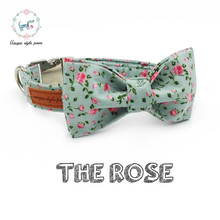 the pretty rose collar with bow tie matel buckle and cotton fabric dog &cat necklace pet accessaries(China)