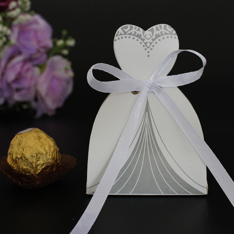 10Pcs Candy Box Bridal Gift Cases Groom Tuxedo Dress Gown Ribbon Wedding Favors Sugar Case Wedding Decoration mariage casamento (10)