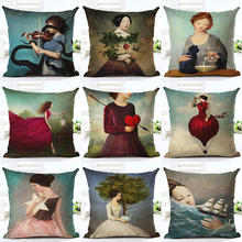 New Arrive Hot Selling Classical Illustration Girl Printing Linen Cotton Cushion Cover Throw Pillow Sofa Pillow Cojines