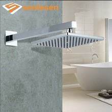 Wholesale And Retail Wall Mounted Square Rainfall Shower Head Chrome Finish Top Shower Shower Hose Brass Shower Arm