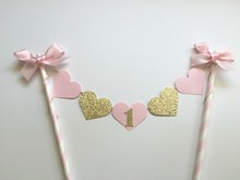 Beautiful Gold and Pink Heart with 1 Cake Toppers for 1st Birthday Party Exquisite Cake Decorative Accessories