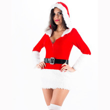 Ladies White Plush Belt Costume Sexy Mrs Miss Hooded Christmas Santa Fancy Dress Costume Outfit