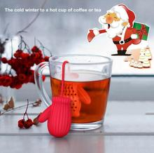 Santa Claus Gloves Tea Infuser Silicone Glove Tea Strainer Herbal Spice And Tea Filter Creative Christmas Gift(China)