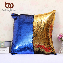 BeddingOutlet Mermaid Sequin Cushion Cover Magical Shining Pillow Case Patchwork Gold Decorative Pillowcase Fashion 40X40cm(China)