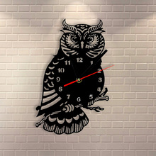 1Piece Night Owl Wall Clock Laser Engraved Strigiformes Wall Clock Modern Design Decorative Clocks for Family