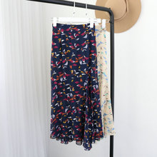 Women's Skirt Summer Elastic Waist 2017 Hot Chiffon Floral Girls Skirts Elegant Preppy Style Long Skirts Womens Vintage 2colors