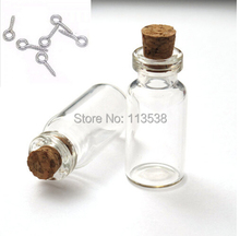 Freeship 50pcs/lot 16x35x7mm 2ml Tiny diy empty Clear Glass Bottle Charms Pendants with cork Eyehook 1ML perfume bottles(China)