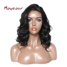 Fashion Women's Wig Black Color Short Wave Lace Wigs with Bangs Synthetic Lace Front Wigs for Black Women(China)