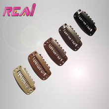 28 MM 6 Teeth Smaple Wigs Hair Extensions Metal Snap Clip, Stainless steel with Silicone(China)