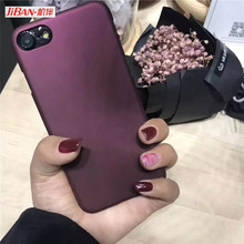 JiBan For iphone 6 6s Case Simple Wine Red Elegant Back Cover PC Plastic Hard Frosted Phone Case For iPhone5 5s 6plus 7Plus Capa(China)