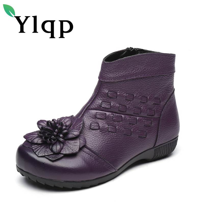 Ylqp Hot Selling Folk Style Flower Women Genuine Leather Shoes 2018 Winter Boots Mother Flat Warm Shoes Woman Sapato Feminino<br>