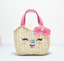30X21CM  hot summer straw bag good mood beach bag lady Woven bag the cane makes up bag smiling face design bag A2318