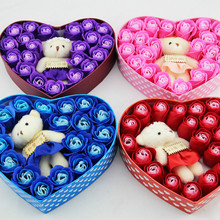 DIY Artificial Soap Rose Flower with Bear Doll Toy Handmade Rose Flowers Soap Flower Gift Box Valentine's Day Christmas Wedding