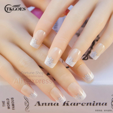TKGOES New 24PCS fashion pre design nail tips 3d full style nail tips False Nails 24 nails french With Free Glue JQ177
