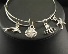 1pc Dolphin Conch Octopus Starfish Marine Organism Charm Wire Bangle Jewelry Bracelets Gifts E207