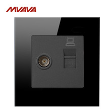 MVAVA Computer Data RJ45 Data+TV Outlet Internet Jack Plug Wall Socket Luxury Black Crysral Glass Cable Receptacle Free Shipping