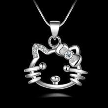 PATICO Hot Lovely Cat Shinning 925 Sterling Silver Necklace Cubic Zirconia Neckalce Chain Nice Pendant Wedding Jewelry