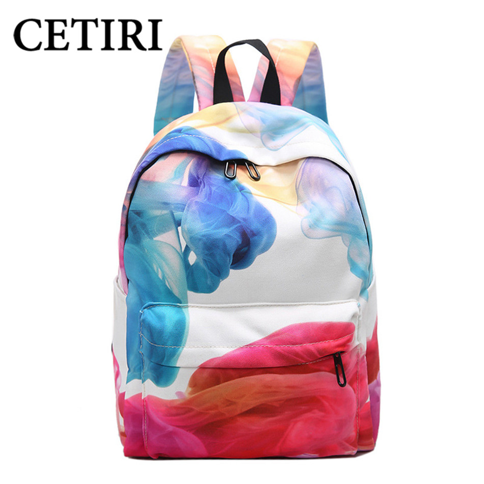 CETIRI Canvas backpack flower backpack women Travel Backpack Female Backpacks For Teenage Girls Kawaii bagpack Mochila Escolar <br>