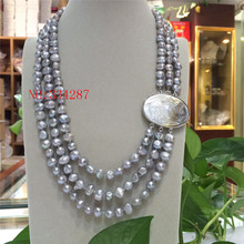 "NEW Baroque 19"" 3row 8-9mm Pink grey white color multicolor pearls necklace seashell clasp(China)"