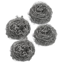 Practical Kitchen Dish Pot Cleaning Steel Wire Spiral Scourer Ball 4 pcs