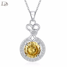 bague suspension yellow decoration stone crystal jewelry necklace women classic design style products female fashion DNE0121(China)