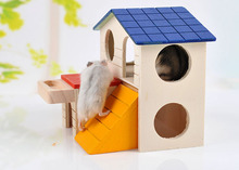 Hot sales Luxury Hamster Wooden House Ladder Pet Small Animal Mouse Hideout Home Nest(China)