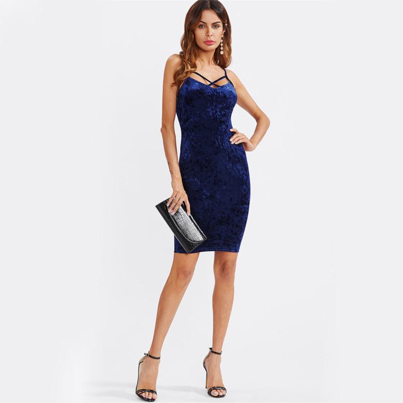 COLROVIE Strappy Cross Club Velvet Dress 2017 Women Royal Blue Fitting Bodycon Slip Summer Dresses Sexy Slim Elegant Midi Dress 9
