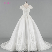 Buy Plus Size Vestido De Noiva 2018 Wedding Dresses Ball Gown V-neck Cap Sleeves Lace Boho Cheap Wedding Gown Bridal Dresses for $122.85 in AliExpress store