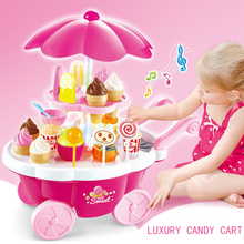 New interaction simulation small carts girl mini candy cart ice cream shop supermarket children toys gift baby toys(China)