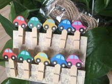 10pcs Car Wooden Clips,Wooden Pegs Kids Party Favor,DIY pegs garland/picture holder Wood Clip for Birthday Party Decorations