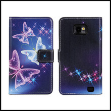 Case For Samsung Galaxy S2 Cover Luxury Butterfly Printed Wallet Leather Capinha Etui Coque Para For Galaxy S2 Funda Hoesje Capa