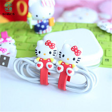 Cute Mini Cable Winder KT Cartoon Earphone Button Holder Charging Wire Cord Organizer for iPhone Android Computer cable earphone